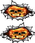 Small handed Oval Ripped Pair Metal Design With Flaming Skull Motif Vinyl Car Sticker 85x50mm Each